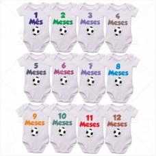 Kit Body Bebê Mesversário com 12 peças Bola de Futebol