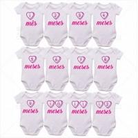 Kit Body Bebê Mesversário com 12 peças Coração Rosa