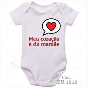 Body Bebê Meu Coração é da Mamãe