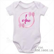 Body Bebê 1 Ano Laço Rosa