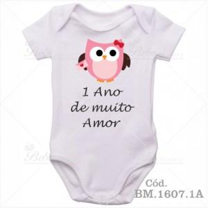 Body de Bebê 1 Ano Corujinha Menina
