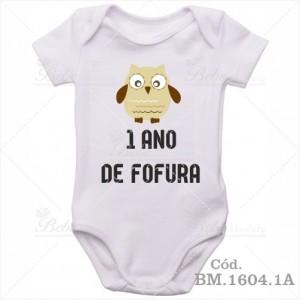 Body de Bebê 1 Ano Corujinha Menino