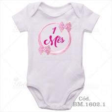 Body Bebê 1 Mês Laço Rosa