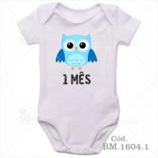 Body Bebê 1 Mês Corujinha Menino