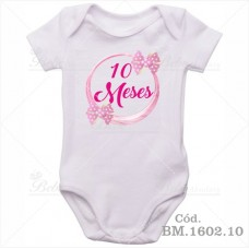 Body Bebê 10 Meses Laço Rosa