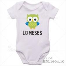 Body Bebê 10 Meses Corujinha Menino