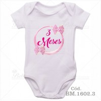 Body Bebê 3 Meses Laço Rosa