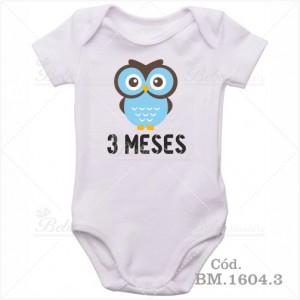 Body Bebê 3 Meses Corujinha Menino
