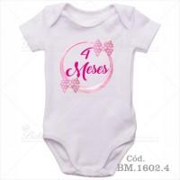 Body Bebê 4 Meses Laço Rosa
