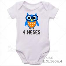 Body Bebê 4 Meses Corujinha Menino