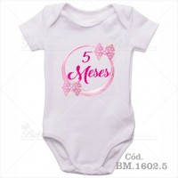 Body Bebê 5 Meses Laço Rosa