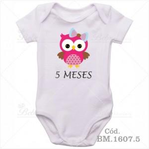 Body Bebê 5 Meses Corujinha Menina