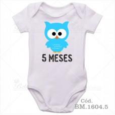 Body Bebê 5 Meses Corujinha Menino