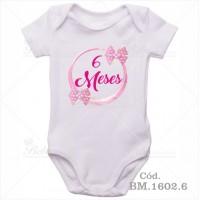 Body Bebê 6 Meses Laço Rosa
