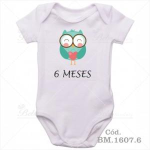 Body Bebê 6 Meses Corujinha Menina