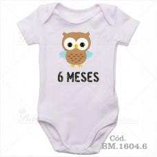 Body Bebê 6 Meses Corujinha Menino