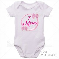 Body Bebê 7 Meses Laço Rosa