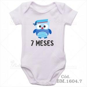 Body Bebê 7 Meses Corujinha Menino