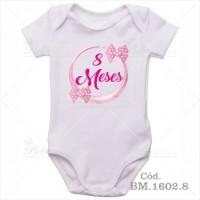 Body Bebê 8 Meses Circulo Rosa com Laço