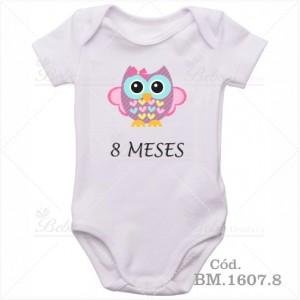 Body Bebê 8 Meses Corujinha Menina