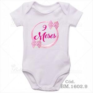 Body Bebê 9 Meses Circulo Rosa com Laço