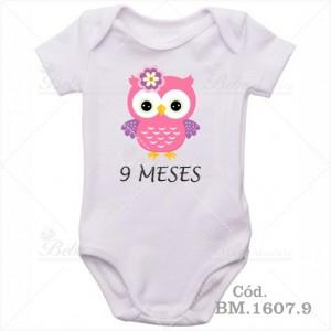 Body Bebê 9 Meses Corujinha Menina