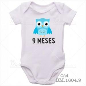 Body Bebê 9 Meses Corujinha Menino
