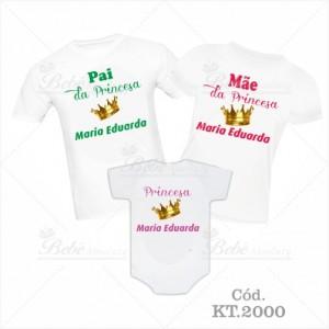 Kit Família com 3 peças Pai e Mãe da Princesa
