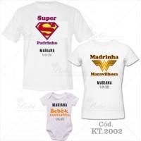 Kit Família com 3 peças Super Padrinho, Madrinha Maravilhosa, Bebê Fantástico