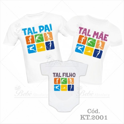 1fd2502f0364e8 Kit Familia Algodão Branco Tal Pai, Tal Mãe, Tal Filho Esportes Bebê ...