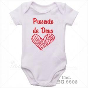 Body Bebê Presente de Deus Coração