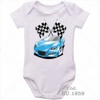 Body Bebê Carro Azul