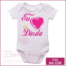 Body de Bebê Eu Amo Dinda Coração
