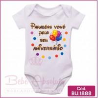 Body Bebê Parabéns Vovó Pelo Seu Aniversário