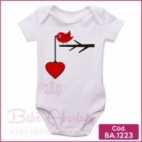 Body de Bebê Pássaro Coração