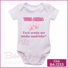 Body Bebê Titia Linda Aceita Ser Minha Madrinha