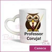Caneca Porcelana com Alça Coração Professor Coruja